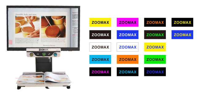 Zoomax desktop video magnifier Aurora HD clear image with high contrast color modes